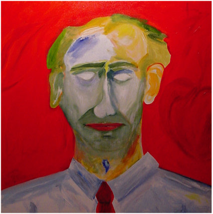 """Self-portrait of the Artist"" (2008), acrylic on canvas, 30"" x 30"""