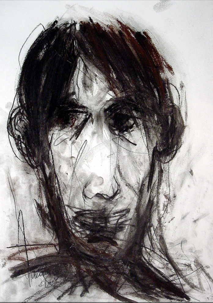 """First Portrait in Armenia"" (2002), charcoal on paper, 30"" x 20"""