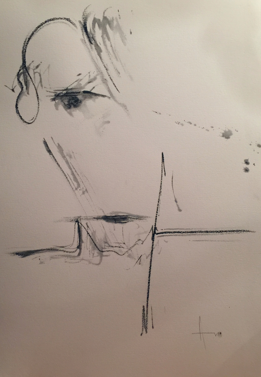 """Witness Series"" (2015), charcoal on paper, 9.5"" x 7"""
