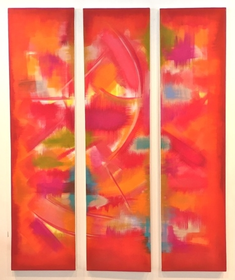 """""""Blooms of Summer"""" (2016), acrylic on canvas, 15"""" x 60"""" (x 3)"""