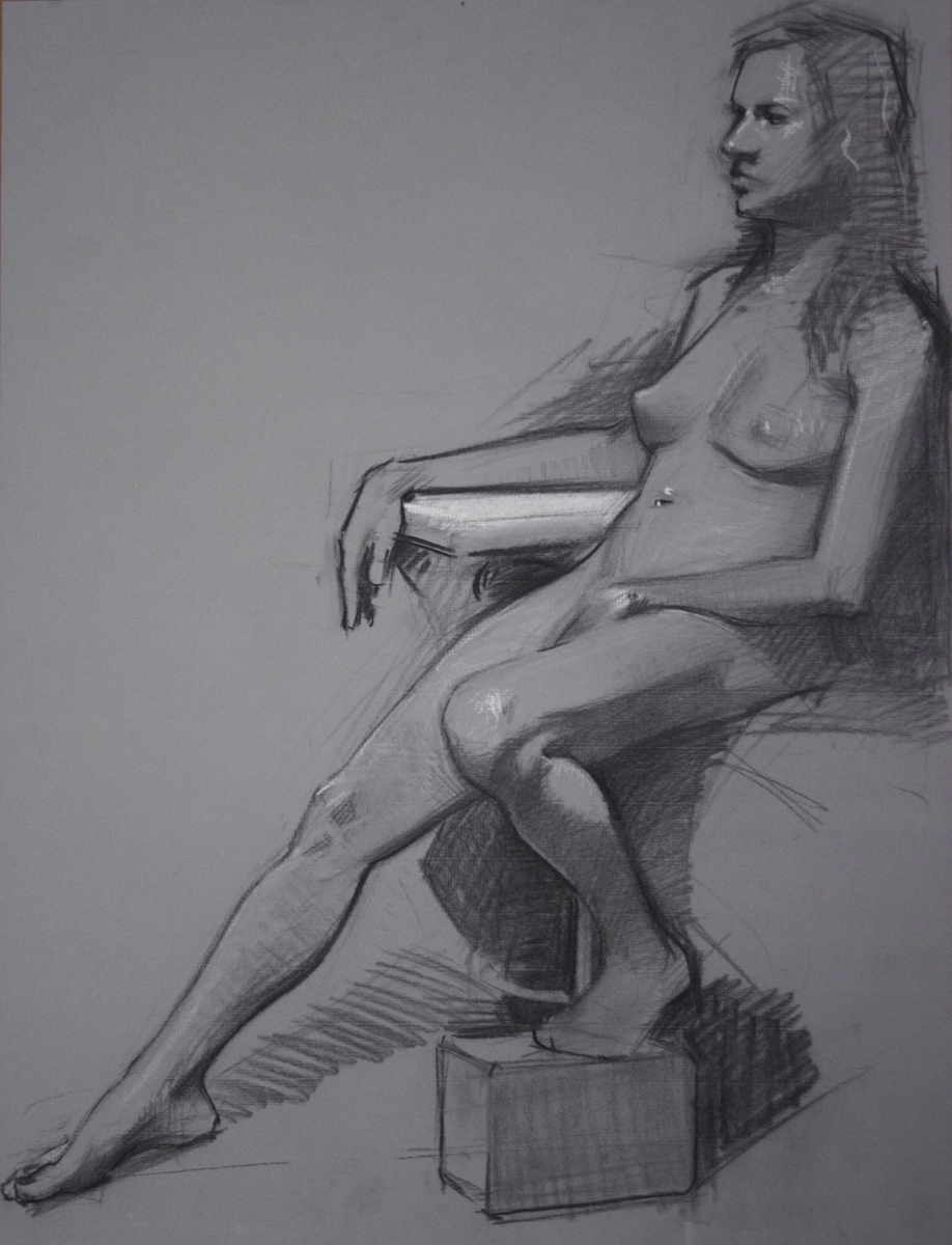 """Seated Woman"" (2011), charcoal and chalk on paper, 19"" x 25"""