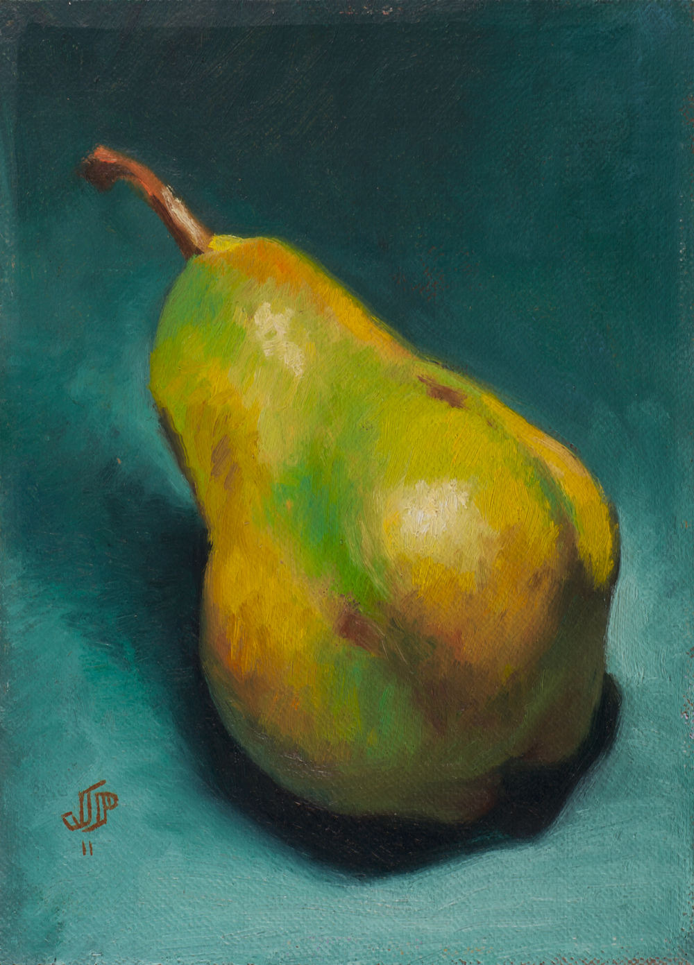 """Diagonal Pear"" (2011), oil on panel, 6"" x 8"""