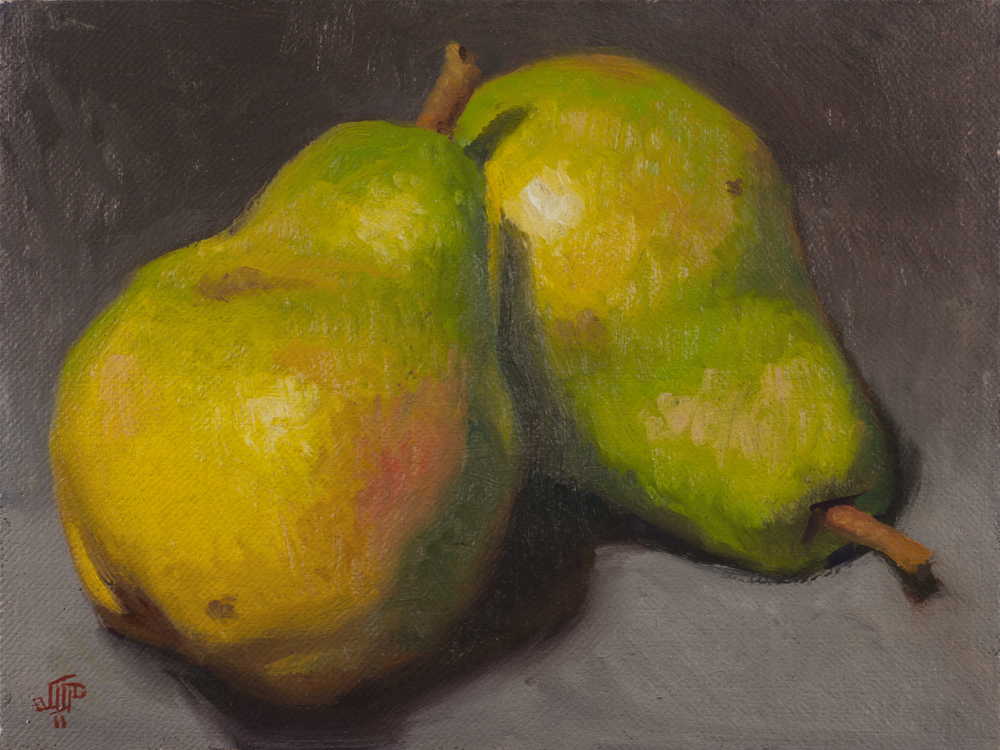 """Quite the Pair"" (2011), oil on panel, 6"" x 8"""