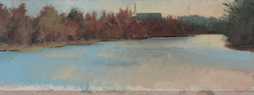 """By the Charles"" (2014), oil on linen on panel, 5"" x 12"""