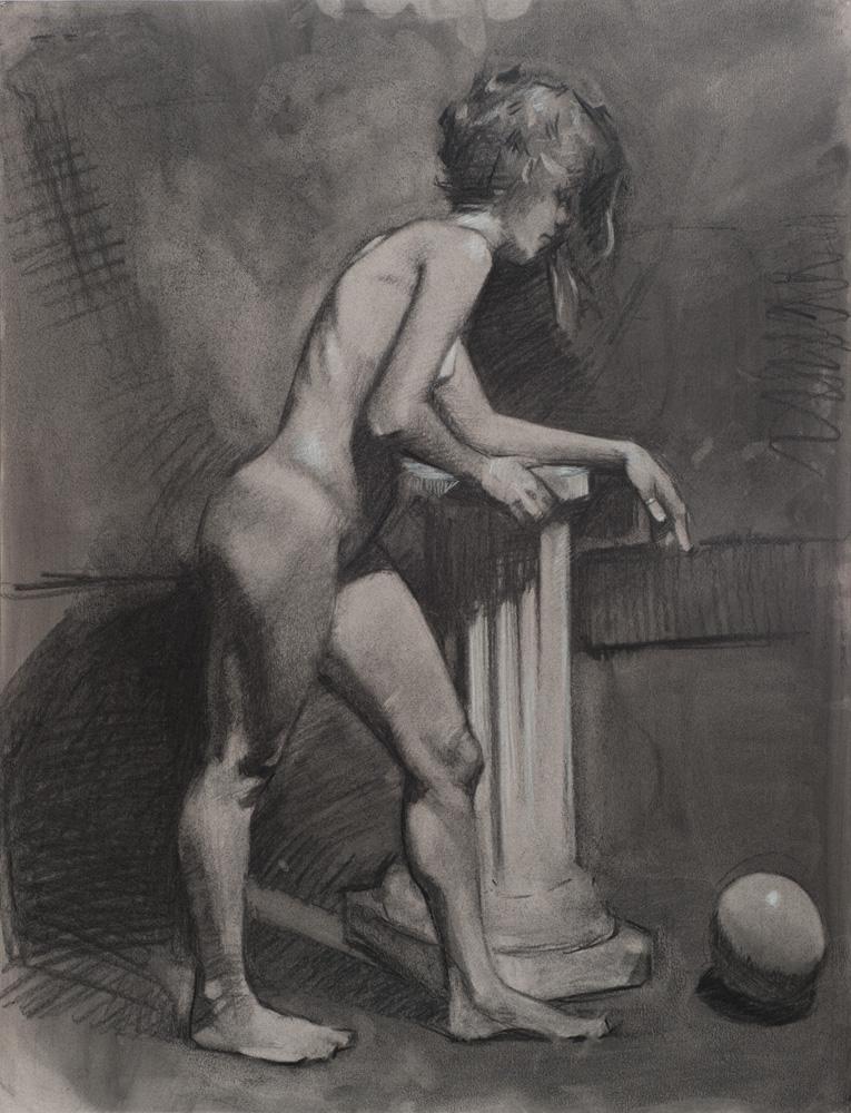 """Woman on Pedestal"" (2013), charcoal on paper, 19"" x 25"""