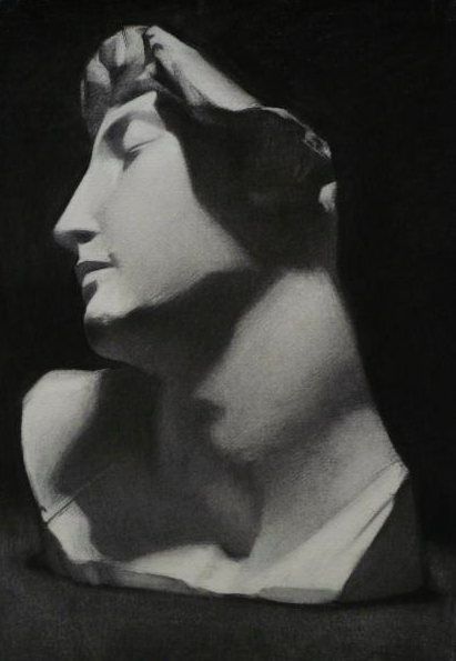 """Dying Slave Fragment"" (2012), charcoal on paper, 16"" x 20"""