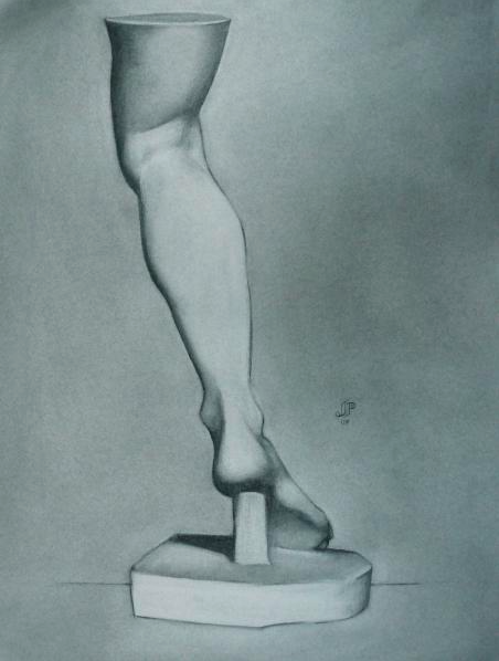 """Leg of the Venus De Medici, Bargue Plate 1/29"" (2007), charcoal on paper, 19"" x 25"""