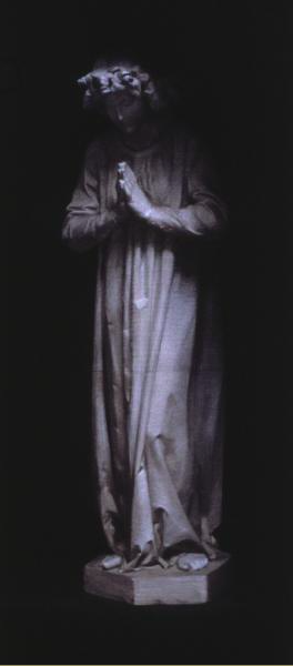 """Praying Angel"" (2002), charcoal and chalk on paper, 19"" x 50"""