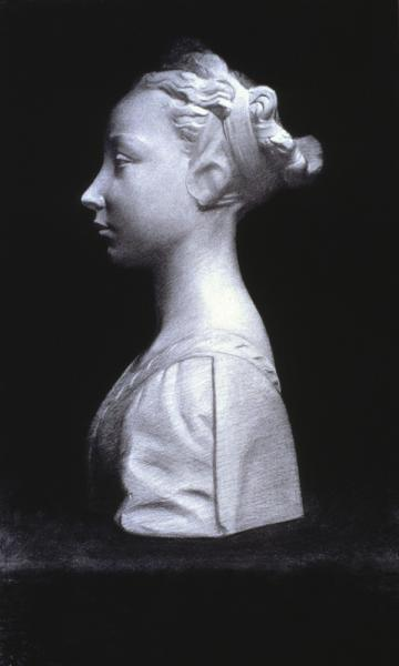 """Profile of a Girl"" (2000), charcoal on paper, 19"" x 25"""