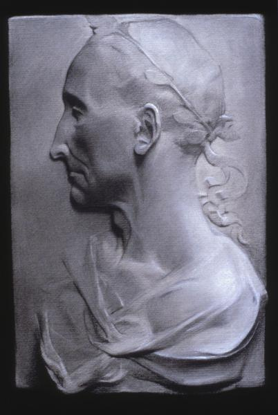 """Profile of Caesar"" (2002), charcoal and chalk on paper, 16"" x 20"""