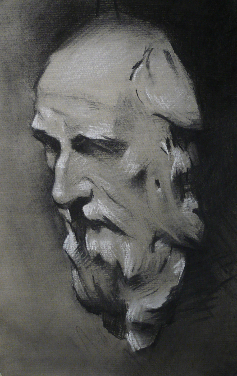 """St. Andrew"" (2012), charcoal and chalk on paper, 12"" x 19"""