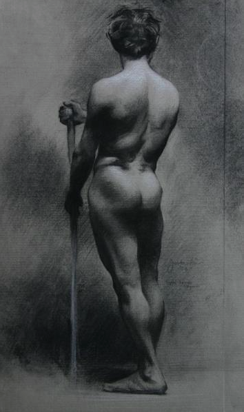 """Standing Male Nude"" (2005), charcoal and chalk on paper, 10"" x 17"""