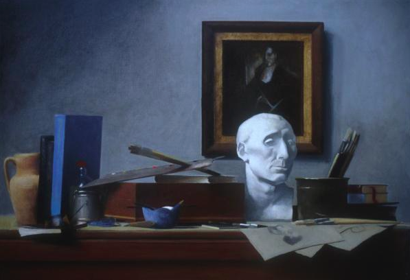 """Attributes of the Artist"" (2004), oil on linen, 24"" x 36"""