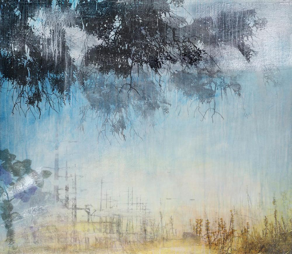 """""""Forsythia I"""" (2015), acrylic and silver leaf, powder on canvas, 32"""" x 49"""""""
