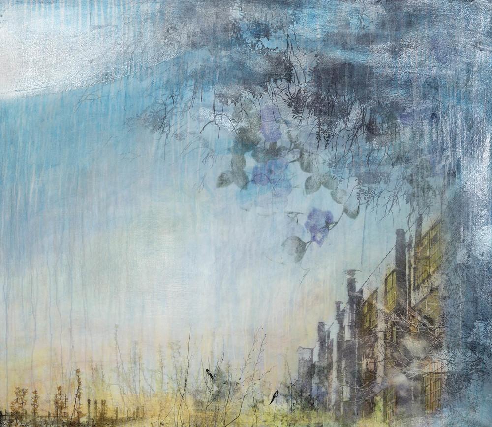 """""""Forsythia II"""" (2015), acrylic and silver leaf, powder on canvas, 32"""" x 49"""""""