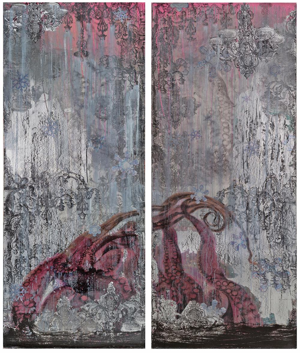 """Hibernation"" (2015), acrylic and silver leaf on canvas, 60"" x 24"" (x2)"