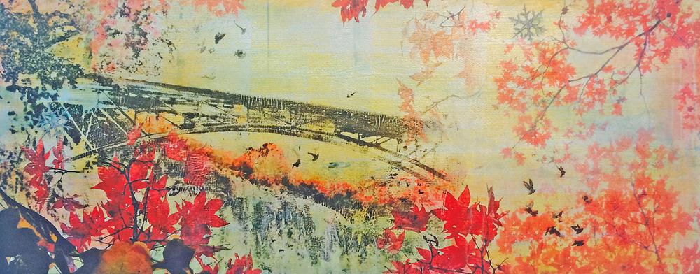 """November Falls II"" (2015), acrylic and silver leaf on canvas, 17"" x 44"""
