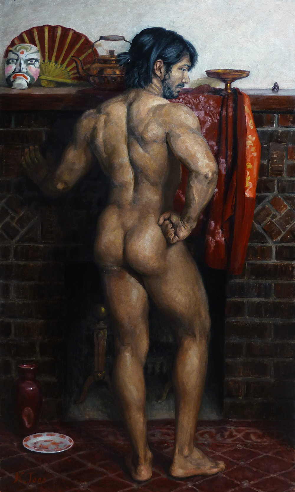 """Arrangement in Brick and Cherry"" (2015), oil on canvas, 40"" x 24"""