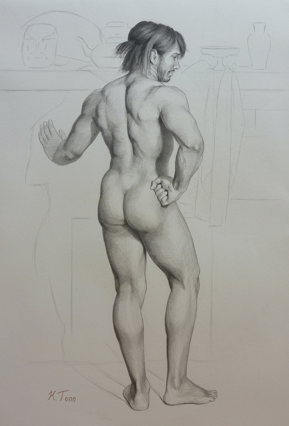 """M. Standing, From Behind"" (2015), graphite on paper, 30"" x 22"""