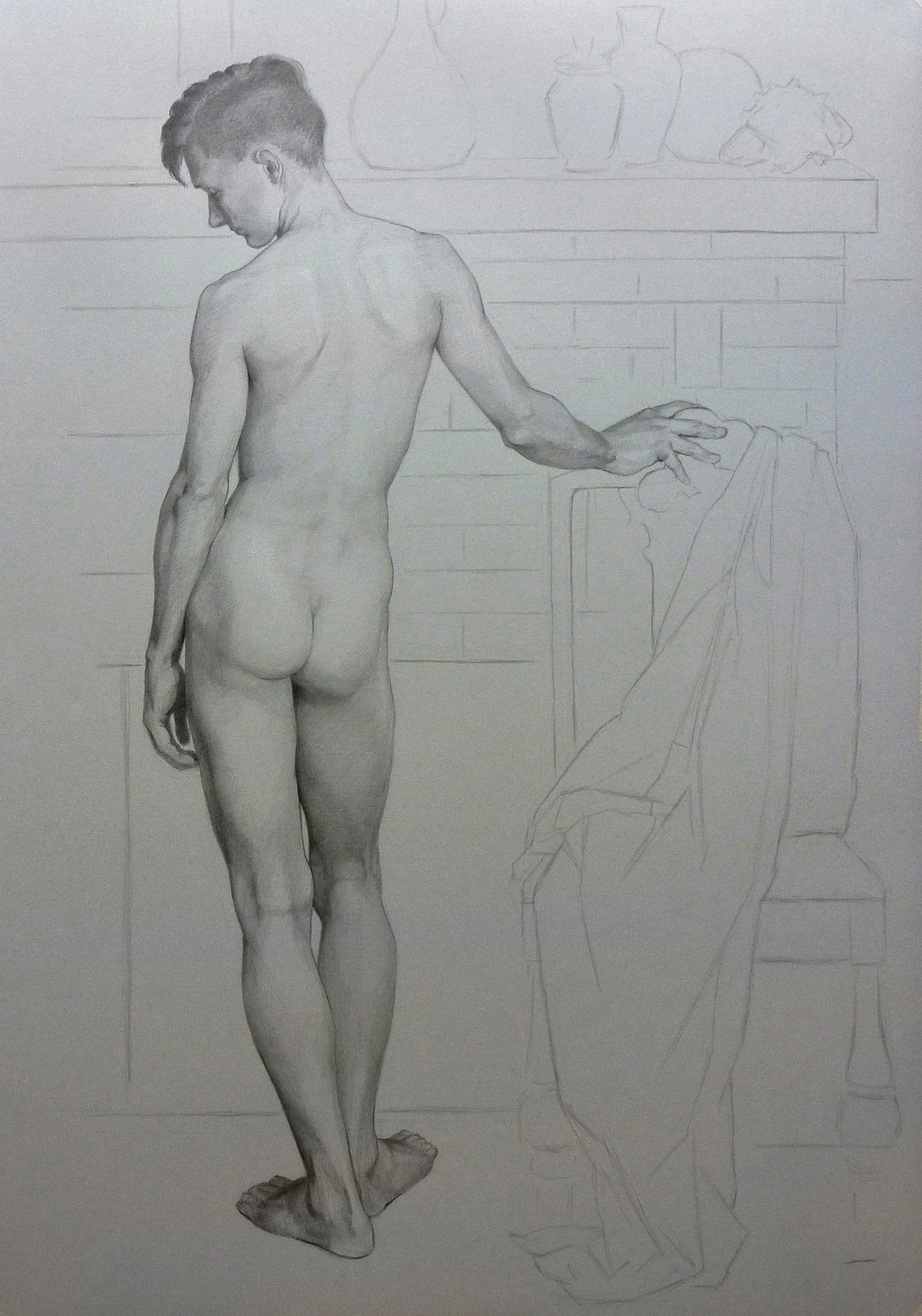 """C. Standing, From Behind"" (2014), graphite and chalk on paper, 30"" x 22"""