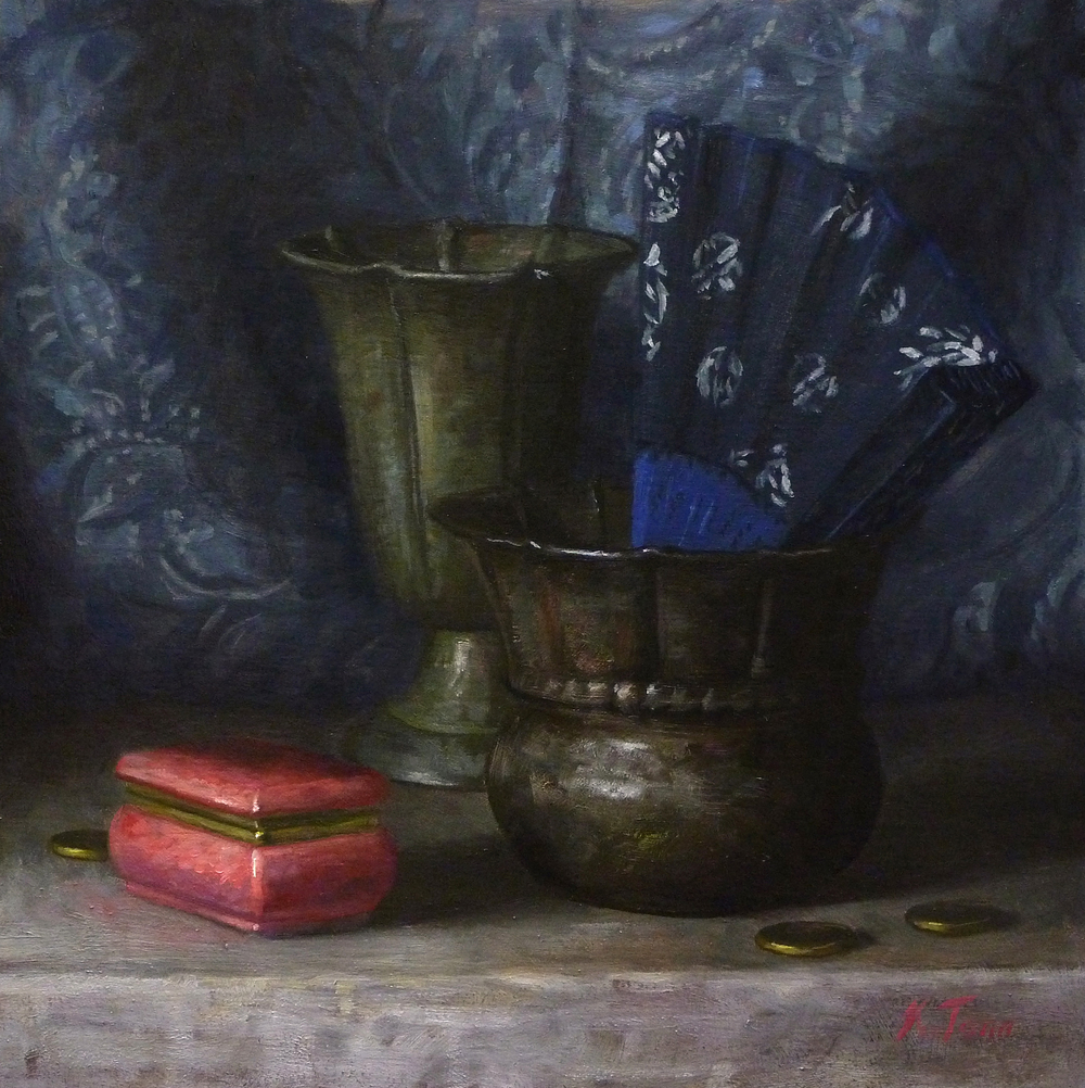 """Arrangement in Pink and Blue"" (2015), oil on panel, 12"" x 12"""