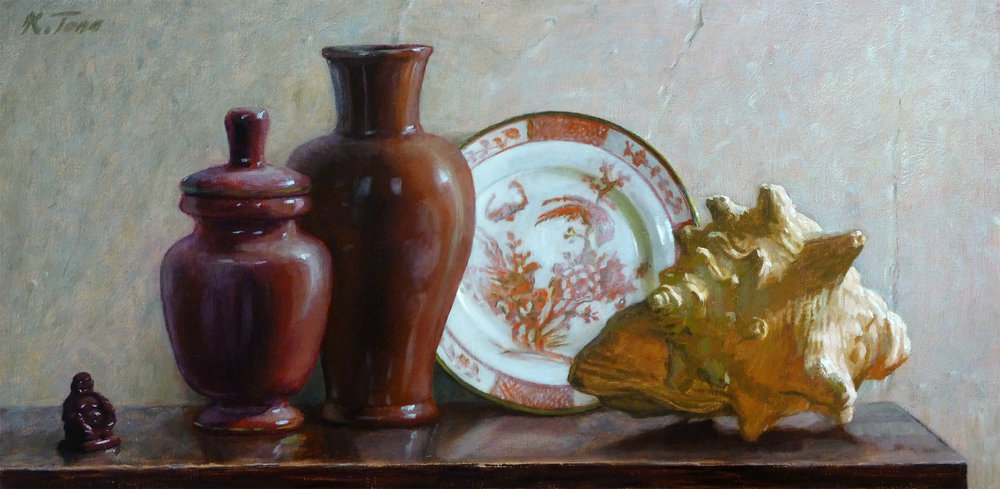 """Arrangement in Red and White"" (2015), oil on panel, 12"" x 24"""