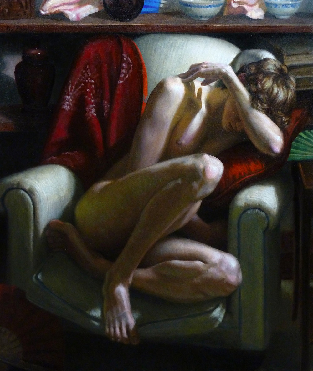 """Male Model, Curled in Chair, With Various Color Accents"" (2016), oil on canvas, 36"" x 30"""