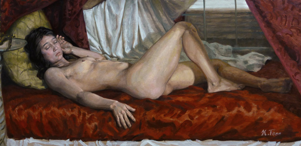 """Reclining Female Nude in Red (Psyche)"" (2015), oil on canvas, 18"" x 36"""
