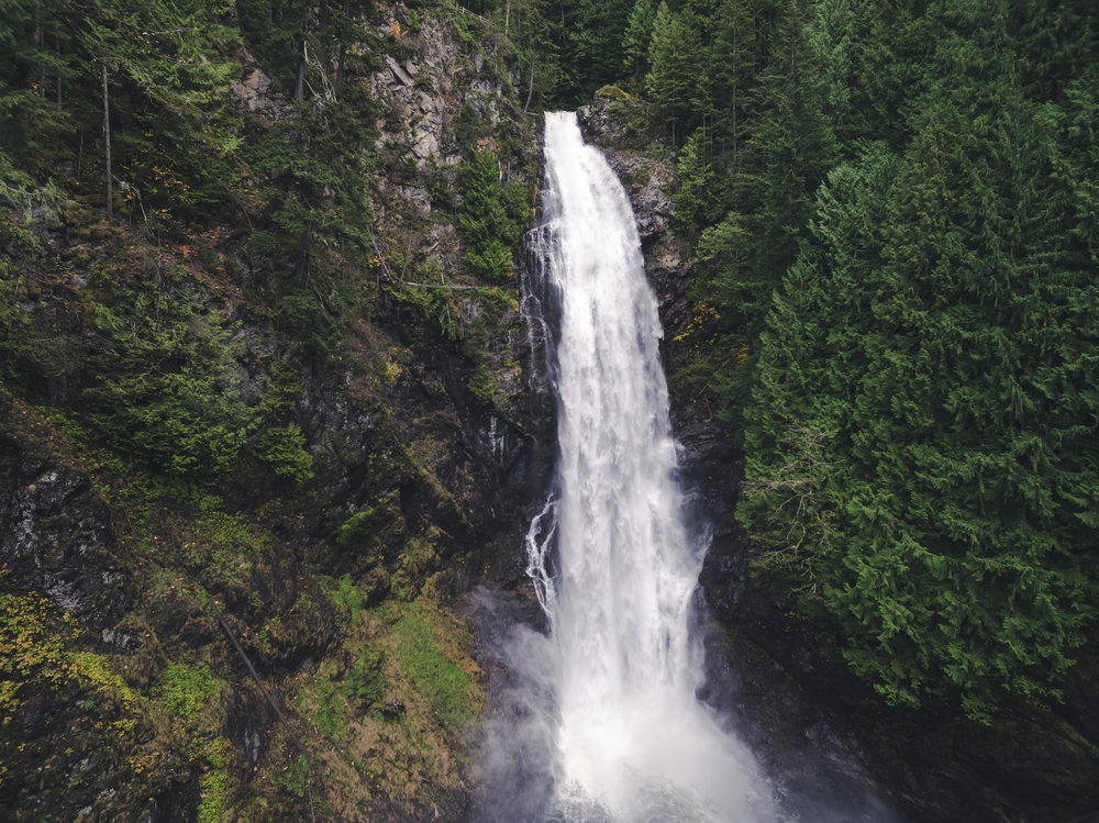 Wallace Falls Park Waterfall Aerial Blog 10-23-16