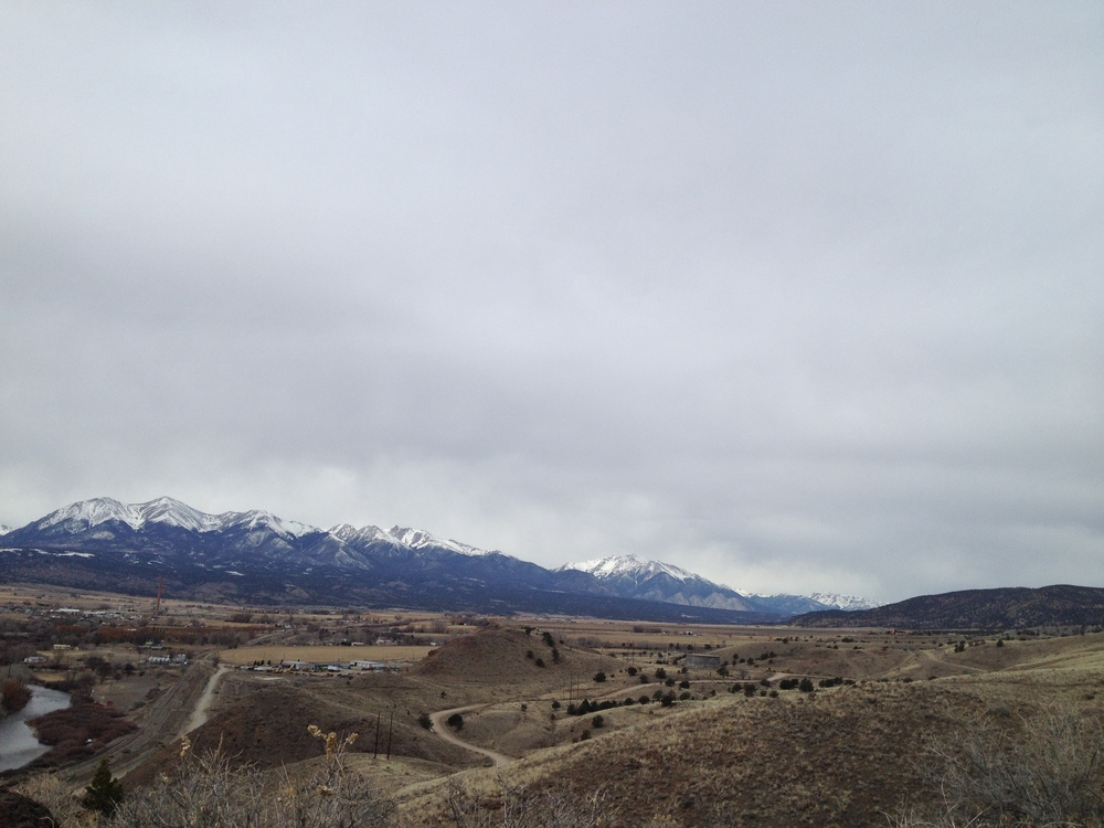 The Sawatch Range of the Rocky Mountains, as seen from Tenderfoot Hill in Salida, CO.