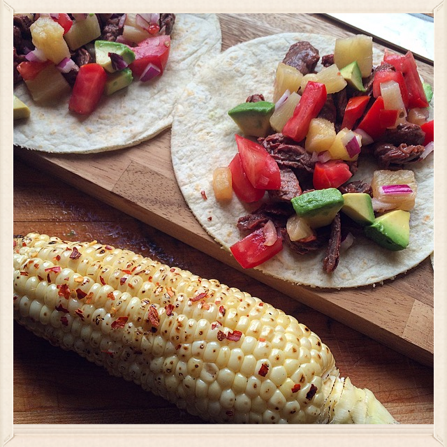 Carne Asada Tacos with Spicy Bacon Rubbed Corn