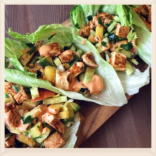 Spicy Chicken, Avocado, and Peach Lettuce Cups with Honey Sriracha Sauce