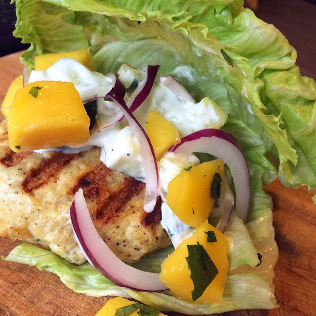 Indian Lettuce Wrapped Chicken Burgers with Mango Cucumber Raita