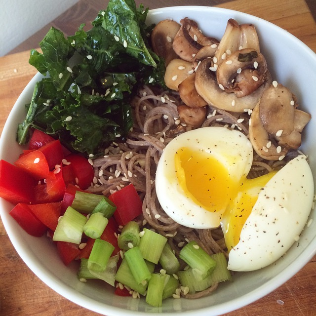 Vegetarian Soba Noodle Bowl with Tahini Sauce