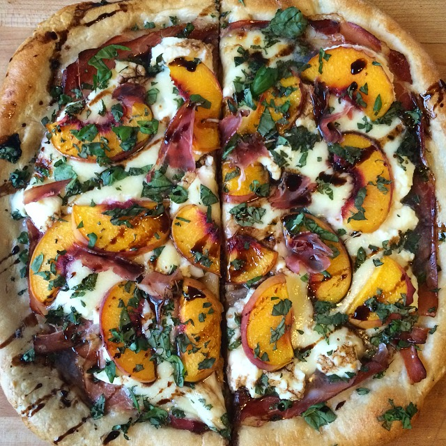 Prosciutto, Peach & Basil Pizza with Balsamic Reduction
