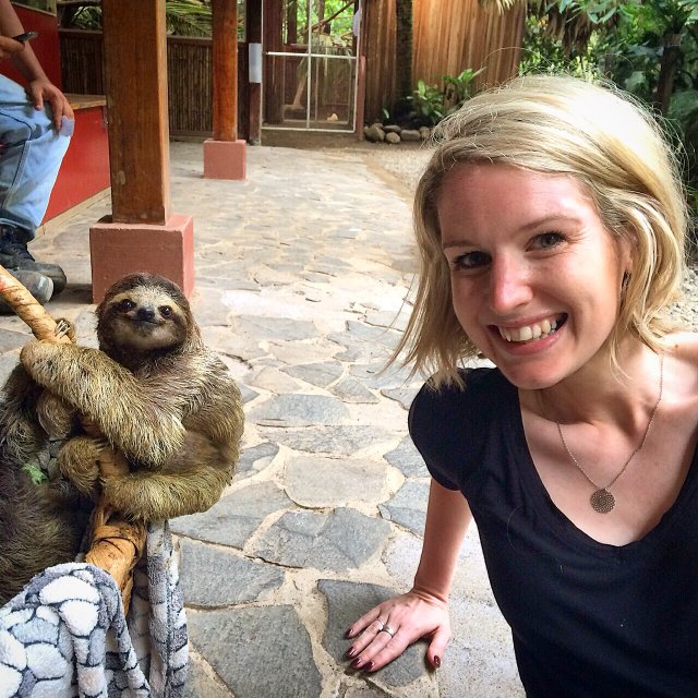 Baby three toed sloth & I