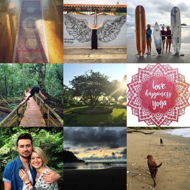 My Instagram top nine:  1 - The Yoga mat Chris bought me when I completed my 90 day yoga challenge.  2  - Kelsey Montague Wings art in San Jose, Costa Rica.  3  - An amazing afternoon spent surfing in Manuel Antonio, Costa Rica with two of the great girls from my Yoga Teacher Training.  4  - Practising my downward facing dog, while on a hike in Manuel Antonio National Park, Costa Rica.  5  - The view from Blue Osa's yoga deck, while on my Yoga Teacher Training, Costa Rica.  6  - My new logo to launch 'Love Happiness Yoga'.  7  - The first photo of Chris and I after he proposed in Costa Rica.  8  - Watching the surfers walking in the shallows on Jaco beach, Costa Rica.  9  - Walking along Blue Osa's beautiful beach with their two dogs, Pete and Rama, Costa Rica.