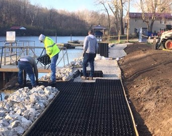 Wheel-chair accessible pavers provide extra soil stabilization. (Photo credit: Monticello Parks Dept.)