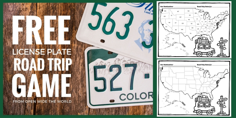 FREE Road Trip License Plate Game — Open Wide the World