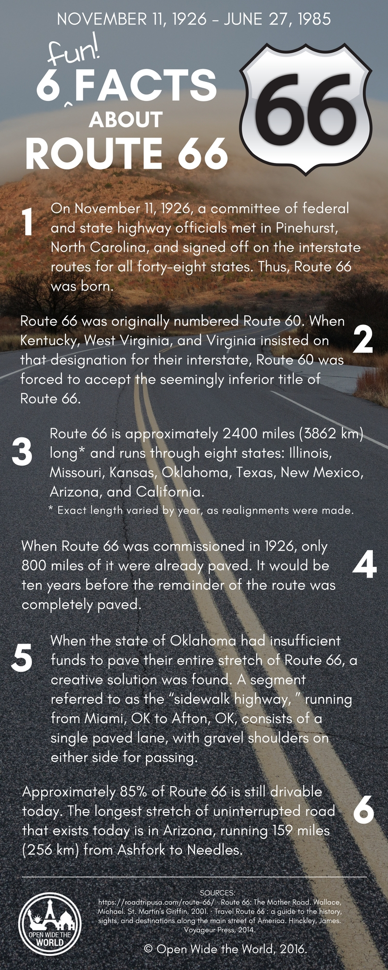 "Route 66, ""America's Mother Road,"" celebrates its birthday in November. Check out a few fun facts about the first 90 years along ""America's Main Street!"""