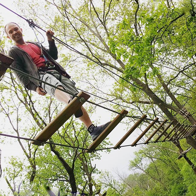 Suspension bridges are known to have existed for at least 2000 years. Han Chinese diplomatic envoys recorded crossing bridges made of 3 vines in the Himalayas, where they initially walked directly on the vines. Plank decking was added at an unknown later point.  Here, we cross plank suspension bridges #inthetrees 🌳 at #goapechicago 🦍. Because, you know, why sit at home when you can #optoutside and #LiveLifeAdventurously! . . . #goape #goapetribe #ziplining #treetopadventure #ropescourse #challengeyourself #outdooradventures #getoutside #inthewoods . #visit_chicago #mychicagopix #explorechicago #likechicago #artofchi #choosechicago #exploreillinois #enjoyillinois #midwestisbest #themidwestival #midwestmoment #MWtravel . #familytravel #tmom #trekarooing #mkbkids #familyadventure