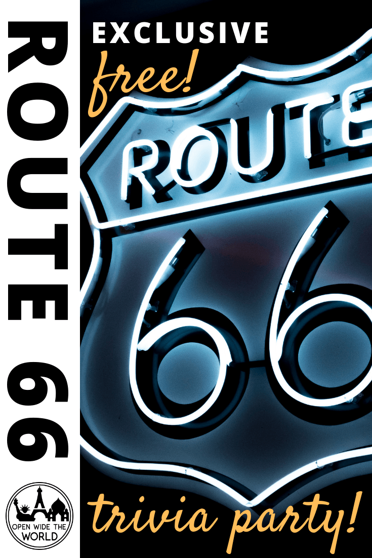 Route 66 facts and trivia. This FREE download is perfect for a Route 66 themed party! Five pages of Rt 66 trivia, music matching, and diner lingo translations, all honoring America's Mother Road! #route66 #openwidetheworld