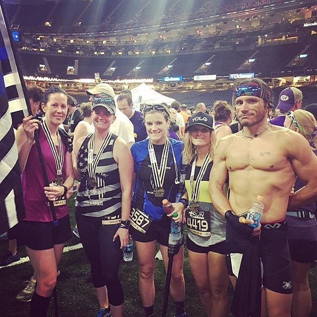Good looking crew right there 💪  Repost from @yoga_with_brandi Battle Family at the Saints 50 yard line! #armorup #battlestrong #battleendurance
