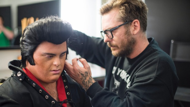 Danny Cope from Starjam in Eden Terrace is transformed into Elvis by the hair king, Chris King
