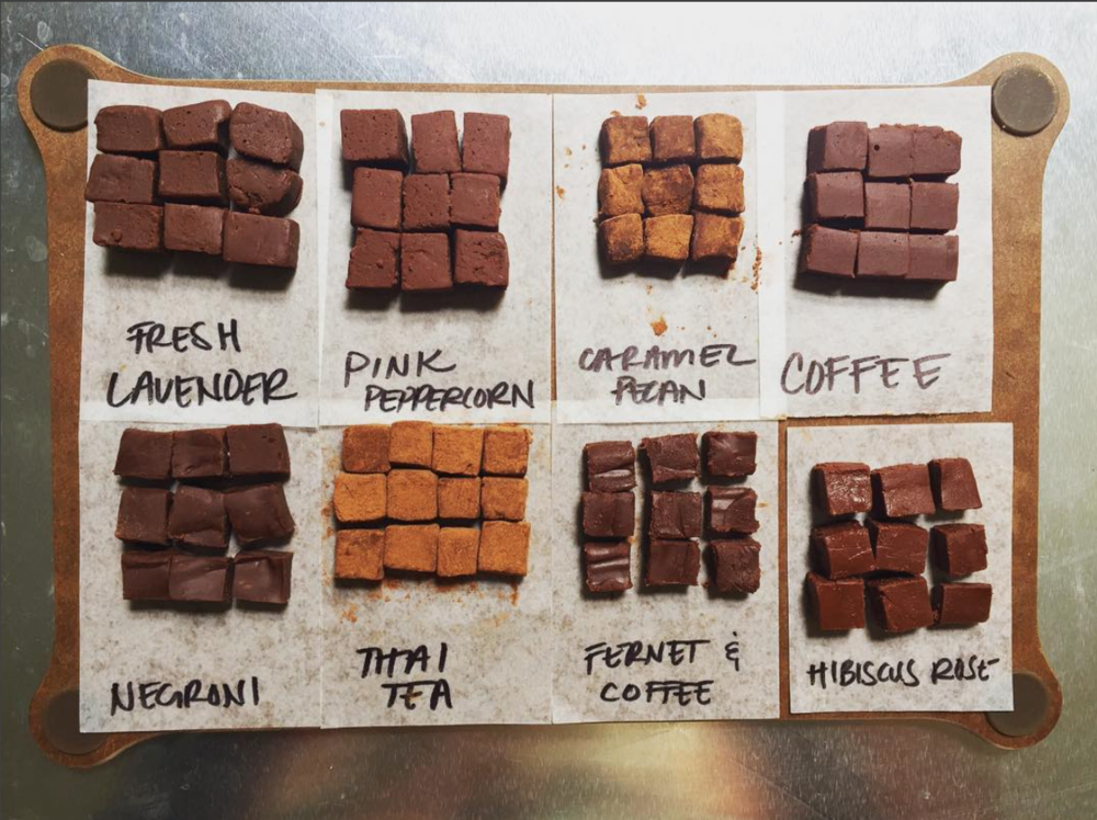 Selection of ganache (filling) samples for Robert & Linda. They asked for Thai tea, caramel pecan, coffee, and pink peppercorn, but we brought a few extra to try. The final cut: Thai tea, hibiscus rose, and fernet & coffee.