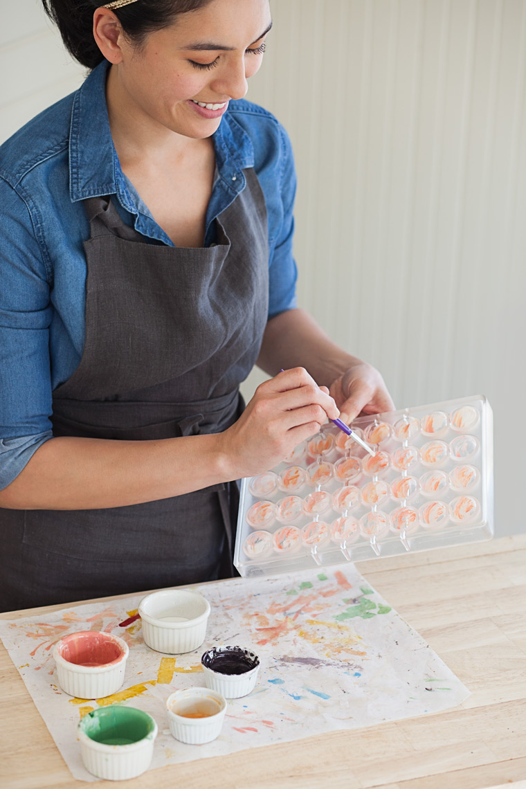 painting chocolates: Chocolatier Melissa Santos in action