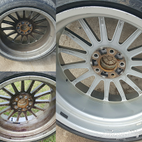 EXTENSIVE WHEEL CLEANING - Starting at $74.99 •Wheels removed, decontaminated and thoroughly cleaned •Offered as an individual service •Add to any service •Included in our full detail