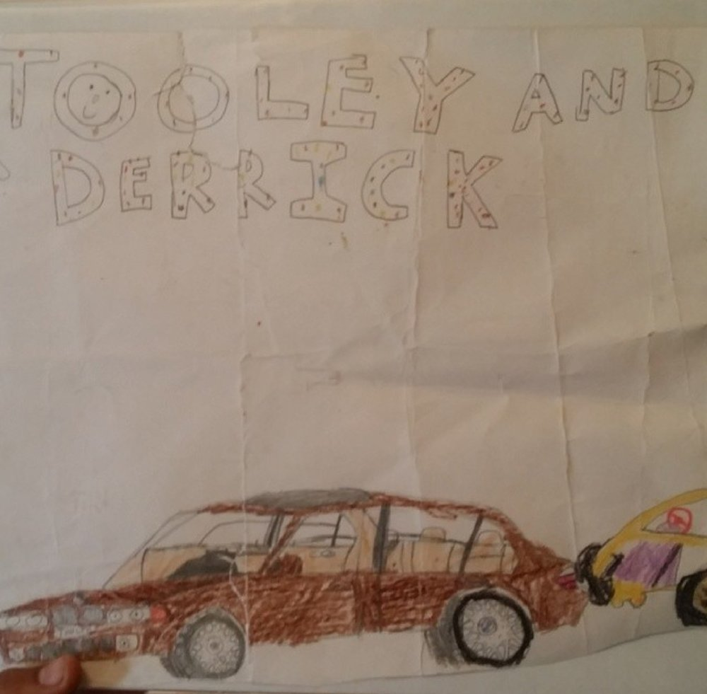 """My parents got me a PowerWheels Dune Buggy that I called my """"Lamborghini"""" because it had wheels similar to the Diablo of the era. I was always fond of the vehicle my dad had at any given time, so I drew a picture that had both of our rides."""