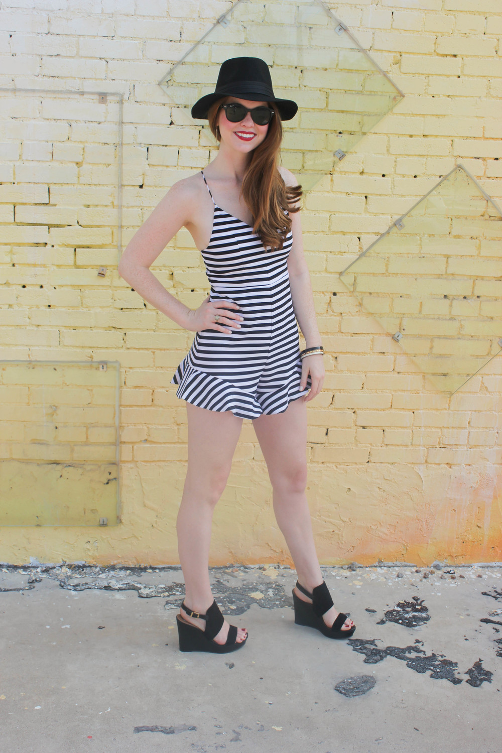 Black and White Romper, Felt Hat | Southern Elle Style | Dallas Fashion Blogger