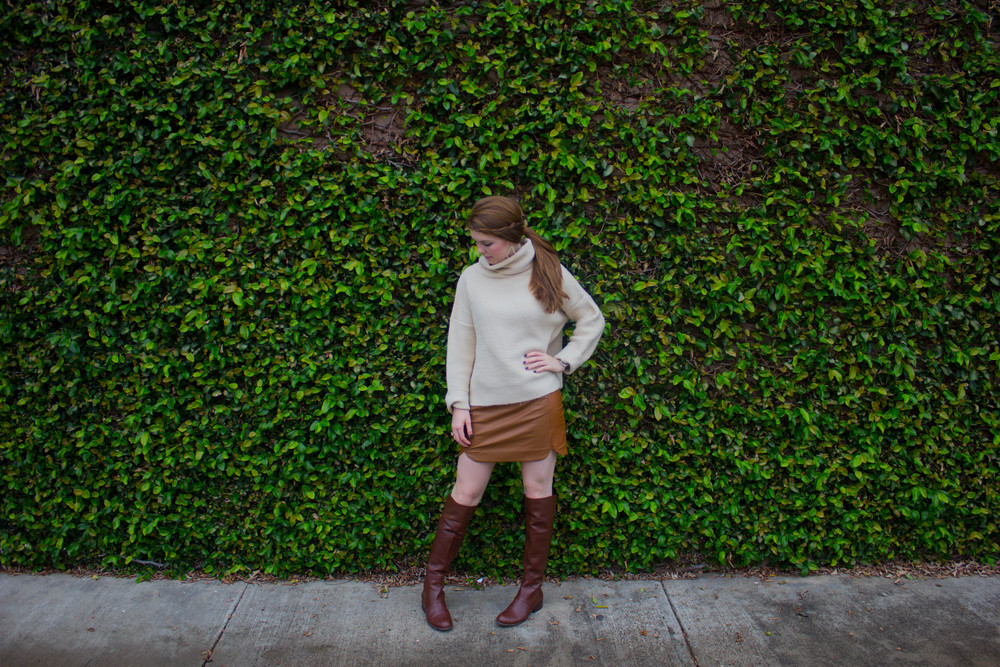 leather mini skirt, joa chunky sweater, nine west over the knee bots
